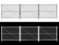 Metalldraht-Zaun - lokalisierte den a-Drahtzaun, der auf Weiß lokalisiert wurde 3D r Stockbild