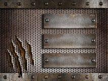 Metalldurchlöcherter oder durchlöcherter Rasterfeldhintergrund Lizenzfreies Stockbild