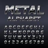 Metalleffekt-Alphabetguß Stahlzahlen, Symbole und Buchstaben stock abbildung