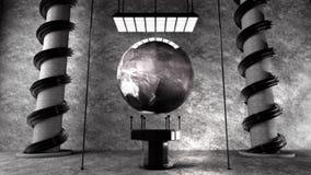 Metallerde auf futuristischer Ausstellung Stockfotos