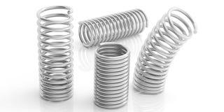 Metallfrühlinge auf weißem Hintergrund Abbildung 3D Lizenzfreie Stockbilder