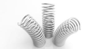 Metallfrühlinge auf weißem Hintergrund Abbildung 3D Stockfoto