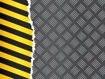 Metallfußboden mit Gefahrband Lizenzfreies Stockfoto