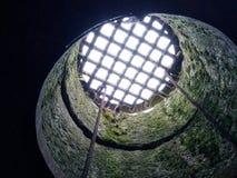 Metallgitter, das einen Steinbrunnen mit den moosigen Wänden führen zu Licht und Himmel bedeckt lizenzfreies stockbild