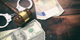 Metallhandschellen, Banknoten und Richterhammer auf hölzernem Hintergrund, Illustration 3d stock abbildung