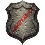 Metallheraldisches Schild mit Kratzern und Einbuchtungen Lizenzfreie Stockfotos
