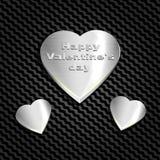 Metallhjärta på ett bakgrundsingrepp av kolhydraten, websites och vykort För lyckönskan på dag för valentin` s Arkivbilder