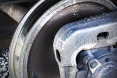 Metallhjul av drevslutet upp Järnväg infrustructure Arkivfoton