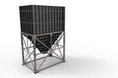 Metallhopper för lagring av material Arkivfoton