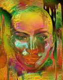 Metallic abstract of woman's face. Metallic gold, rust, pink and yellow abstract of a womans face. Her undeniable female, facial features are contrasted by her Royalty Free Stock Images