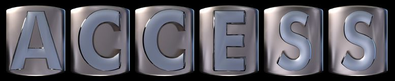 Metallic access word. Metallic blue silver access word realistic 3d rendered on black background Stock Images