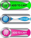Metallic Add To Cart button/icon set. For web applications. Vector Royalty Free Stock Photography