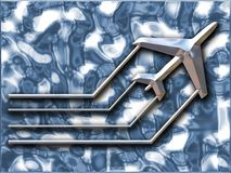 Metallic airplane. Metallic effect airplane Stock Images
