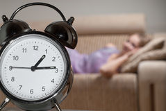 Metallic alarm clock Royalty Free Stock Photos