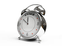 Metallic alarm clock isolated on white background. 3D Stock Images