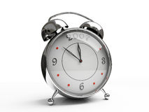 Metallic alarm clock isolated on white background. 3D royalty free stock photo