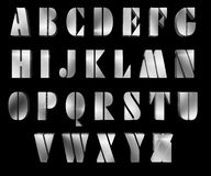 Metallic alphabet on black Stock Photo