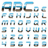 Metallic alphabet letters and digits vector illustration