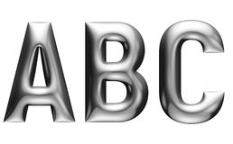 Metallic alphabet with linear font, A B C letters, chrome effect with bevel, white background. Metallic alphabet with modern font, A B C letters, chrome effect Stock Photos