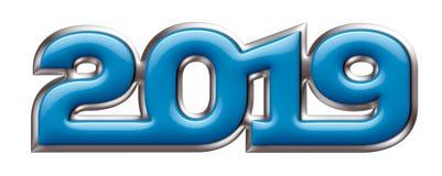 Metallic alphabet, new year 2019, blue metal effect, 3d illustration. Metallic alphabet and numbers, new year 2019, blue metal effect, 3d illustration, for stock illustration