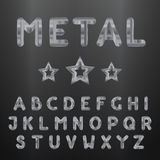 Metallic alphabet. Set of stainless 3d letters Stock Images