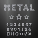 Metallic alphabet. Set of stainless 3d numbers. Royalty Free Stock Photography