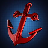 Metallic anchor on blue background Stock Images