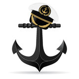 Metallic anchor and on it hangs a cap captain. Stock Image