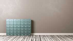 Archive Rack on Wooden Floor Against Wall. Metallic Archive Rack on Wooden Floor Against Grey Wall with Copyspace 3D Illustration Royalty Free Stock Image