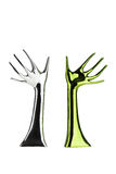 Metallic arms with waving hands Royalty Free Stock Images
