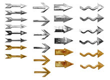Metallic arrow buttons. Set of different gold and silver metallic arrow buttons; isolated on white background Royalty Free Stock Photo
