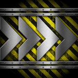 Metallic arrows on striped background Royalty Free Stock Images