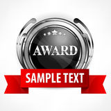 Metallic award with ribbon Stock Photo