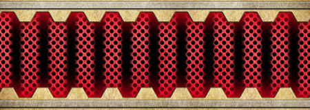 Metallic background of bronze or brass plates and red grid, 3d,. Golden metal background with red grid texture bronze plates, 3d, illustration Royalty Free Stock Images