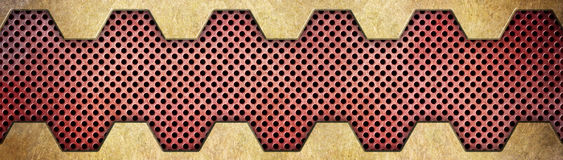 Metallic background of bronze or brass plates and red grid. Golden metal background with red grid texture bronze plates Stock Photo