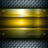 Metallic background. 3D metallic background gold steel texture, vector Stock Images