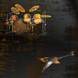 Metallic background with drums and electric guitar Royalty Free Stock Photography