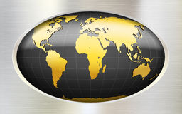 Metallic background with globe Royalty Free Stock Photos