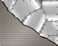 Metallic background with grid and steel plates Stock Photo
