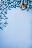 Metallic background with hexagon anchor bolt washers screwbolts Stock Image