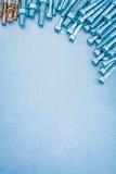 Metallic background with hexagon anchor bolts Royalty Free Stock Photos