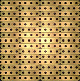 Metallic background of long plates with holes in steampunk style Stock Photos