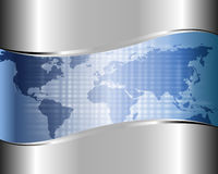 Metallic background with a map of the world Royalty Free Stock Image