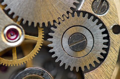 Metallic Background with metal cogwheels a clockwork. Macro Stock Images