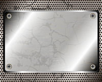 Metallic background with plate. And grid for your design Stock Photos