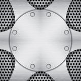 Metallic background with plates and screws Stock Image