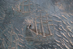 Metallic background, sailing ships Stock Photography