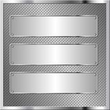 Banners. Metallic background with three metal plaques Royalty Free Stock Images