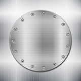 Metallic background witth circle plate Royalty Free Stock Image