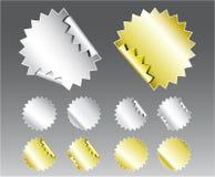 Metallic Badge Stickers Stock Photos